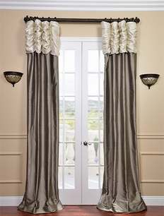 Ruched Thai Silk Curtain - Pearl White Header &Silver Grey Panel