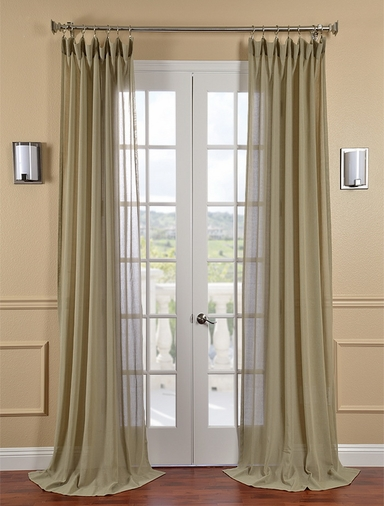 Sage Faux Linen Sheer Curtain