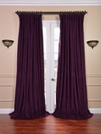 Signature Eggplant Double Wide Velvet Blackout Pole Pocket Curtain