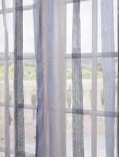 Signature Havannah Blue Striped Linen & Voile Weaved Sheer Swatch