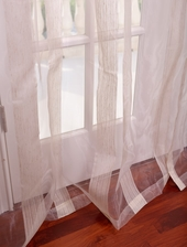 Signature Havannah Natural Striped Linen & Voile Weaved Sheer Swatch