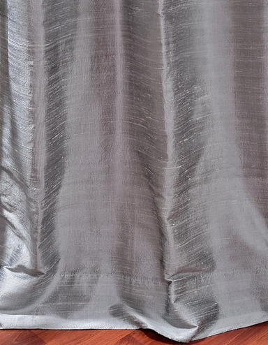Silver Bell Textured Dupioni Silk Curtain