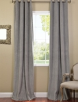 Silver Grey Grommet Velvet Blackout Curtain