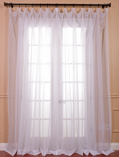 Solid White Double Wide Voile Poly Sheer Curtain