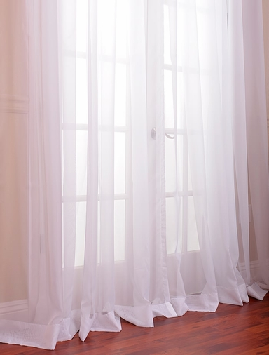 Solid White Double Wide Voile Poly Sheer Swatch
