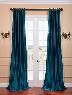 Tahitian Teal Silk Taffeta Curtain