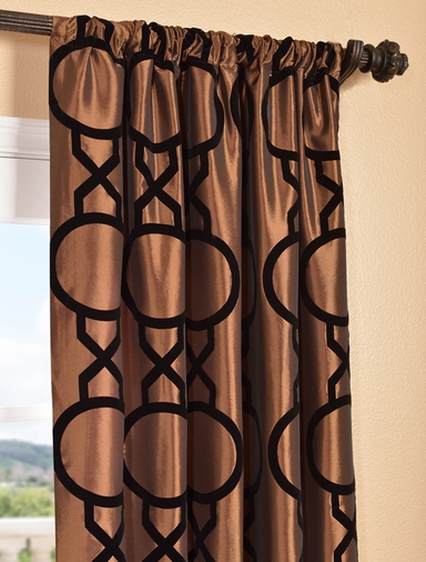 Taurean Copper Flocked Faux Silk Curtain