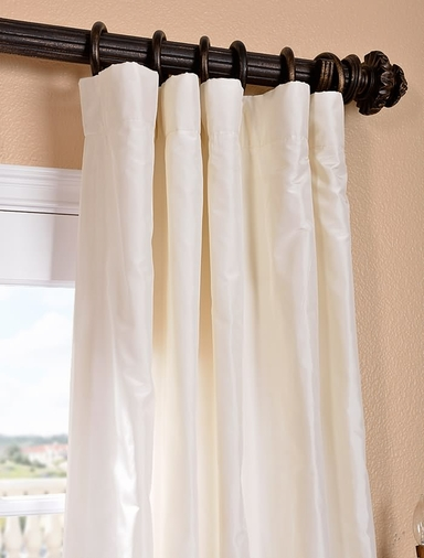 White Satin Silk Taffeta Curtain