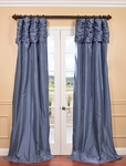 NEW: Wisteria Blue Ruched Faux Solid Taffeta Curtain