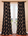Zen Garden Black Embroidered Faux Silk Curtain