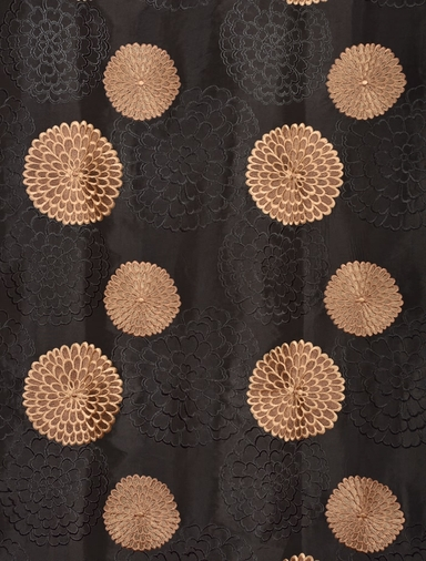 Zen Garden Black Embroidered Faux Silk Swatch