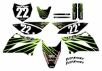 KLX110 Graphics Kit 2010-2015 (Black) Lines Series by Fast Times