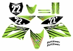 KLX110 Graphics Kit (Green) Lines Series by Fast Times