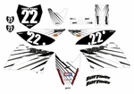 KLX110 Graphics Kit (White) Lines Series by Fast Times