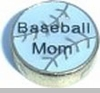 Baseball Mom Floating Heart Locket Charm