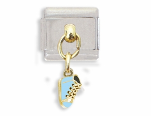 Blue Baby Shoe Dangle Italian Charm Bracelet Link