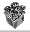 Cherub Angel on Heart with Clear and Blue Crystals European Bead Charm