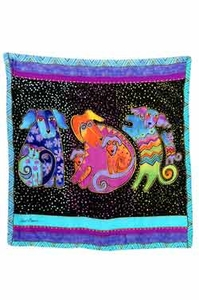 Dogs & Doggies Square Scarf by Laurel Burch