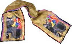 Ebony Cats & Parrots Silk Scarf with Sequins by Laurel Burch