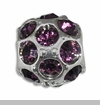 February Silver Ball with Amethyst Color Crystals European Bead Charm