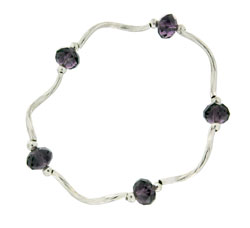 Prism Pals Amethyst Color Crystal Stretch Bracelet, February Birthstone