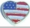 Heart Shaped US Flag Heart Locket Charm