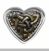 Heart with Gold & Silver Celtic Knot Heart European Bead Charm