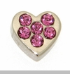 Heart with Pink Crystals Floating Locket Charm