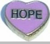 Hope in Pink Heart Floating Heart Locket Charm