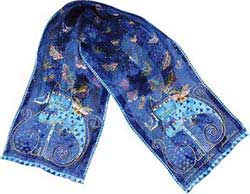 Indigo Cats Silk Scarf with Sequins by Laurel Burch