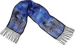 Indigo Horses Silk Scarf by Laurel Burch