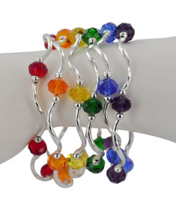 Prism Pals Ruby Color Crystal Stretch Bracelet, July Birthstone
