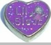 Lil Sis Floating Heart Locket Charm