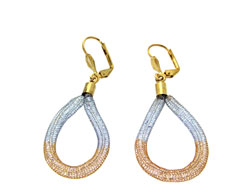 Lily Helena Glistening Ice Crystal Mesh Earrings, Silvertone, Goldtone, Clear