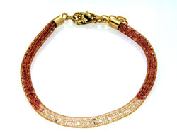 Lily Helena Glistening Ice Crystal Mesh Small Round Bracelet, Gold-tone, Red & Clear