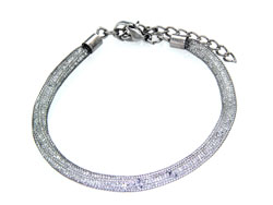 Lily Helena Glistening Ice Crystal Mesh Small Round Bracelet, Silvertone, Clear