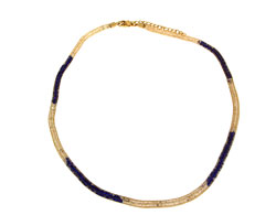 Lily Helena Glistening Ice Crystal Mesh Small Round Necklace, Goldtone, Blue & Clear