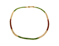 Lily Helena Glistening Ice Crystal Mesh Small Round Necklace, Goldtone, Red & Green & Clear