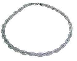 Lily Helena Glistening Ice Crystal Mesh Twist Necklace, Silvertone, Clear