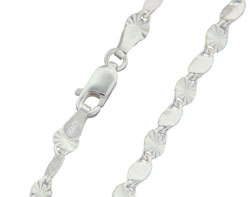 Matthew Gerard Twisted Mirror Chain Link Italian Sterling Silver Necklace