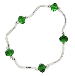 Prism Pals Emerald Green Color Crystal Stretch Bracelet, May Birthstone
