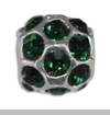 May Silver Ball with Emerald Color Crystals European Bead Charm