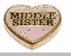 Middle Sister Floating Heart Locket Charm