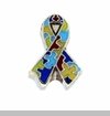 Multi-color Puzzle Autism Ribbon Floating Locket Charm
