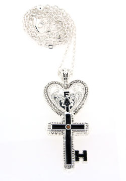 Inspired By Him My Key Of Faith Necklace, Silver-tone
