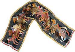 Native Horses Black Silk Scarf with Sequins by Laurel Burch