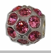 October Silver Ball with Pink Tourmaline Color Crystals European Bead Charm