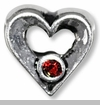 Open Heart with Red Czech Crystal European Bead Charm
