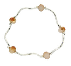 Prism Pals Peaches & Cream Color Crystal Stretch Bracelet