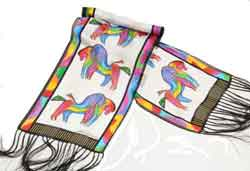 Rainbow Horses White Scarf by Laurel Burch